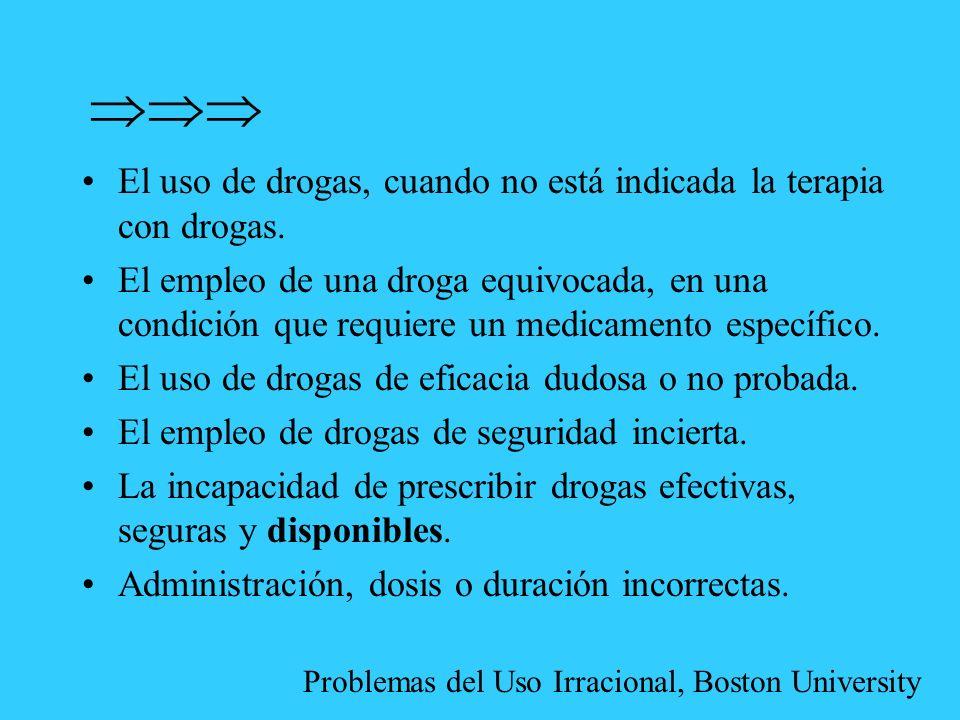  El uso de drogas, cuando no está indicada la terapia con drogas.