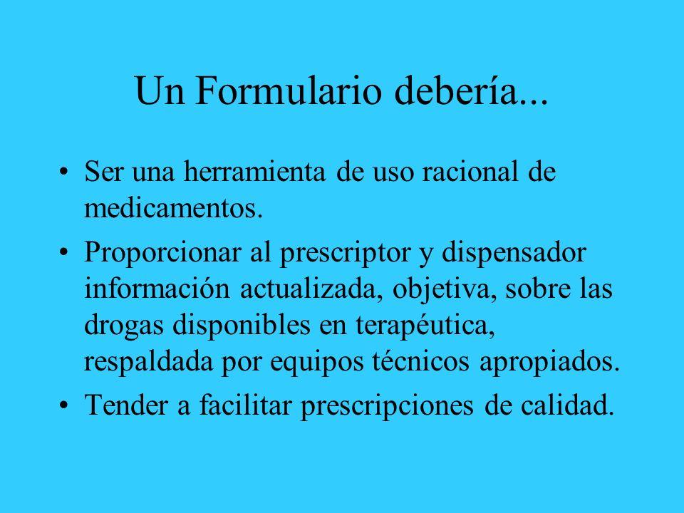 Un Formulario debería... Ser una herramienta de uso racional de medicamentos.
