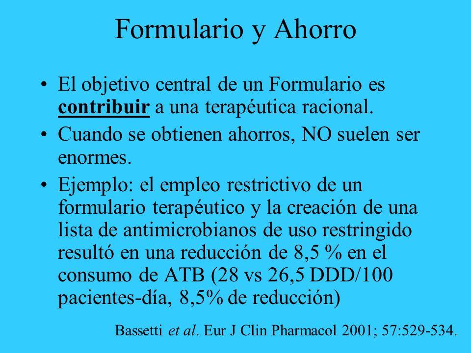 Formulario y Ahorro El objetivo central de un Formulario es contribuir a una terapéutica racional.