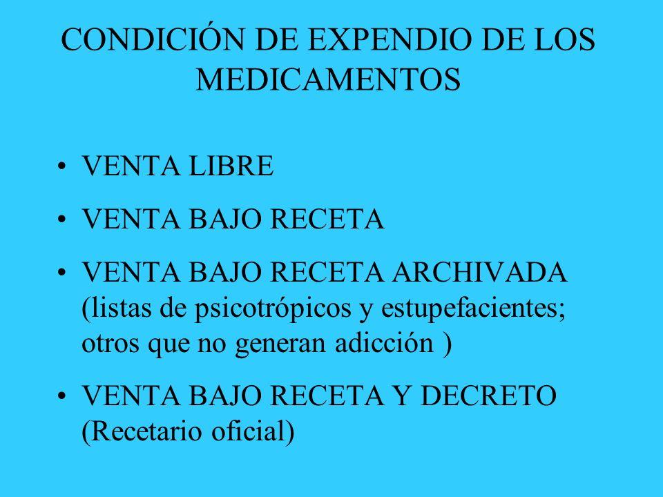 CONDICIÓN DE EXPENDIO DE LOS MEDICAMENTOS