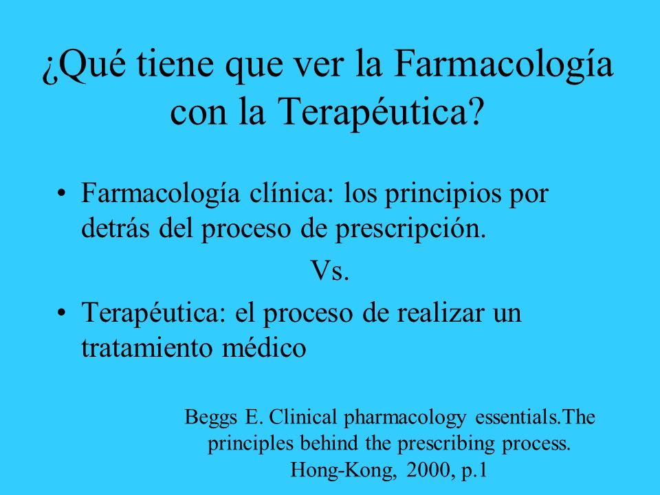 ¿Qué tiene que ver la Farmacología con la Terapéutica