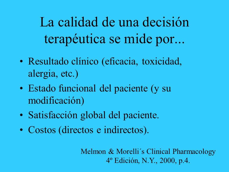 La calidad de una decisión terapéutica se mide por...