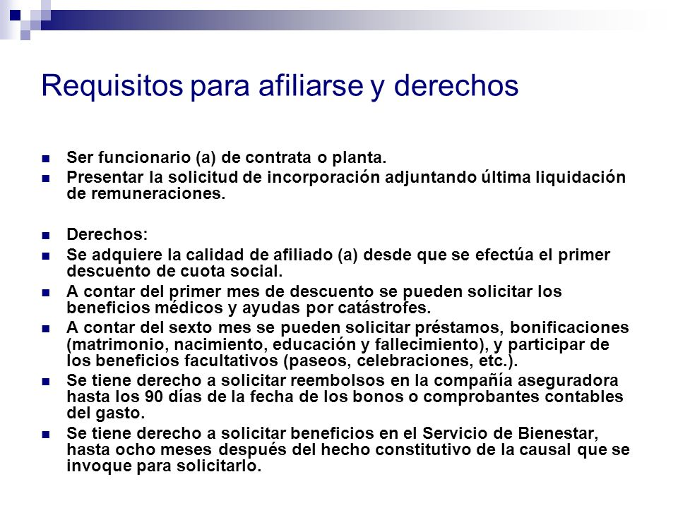 Requisitos para afiliarse y derechos