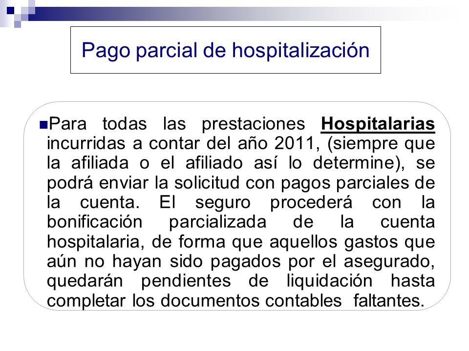 Pago parcial de hospitalización