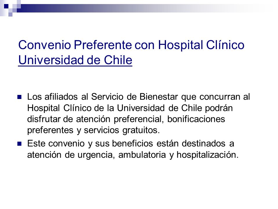 Convenio Preferente con Hospital Clínico Universidad de Chile
