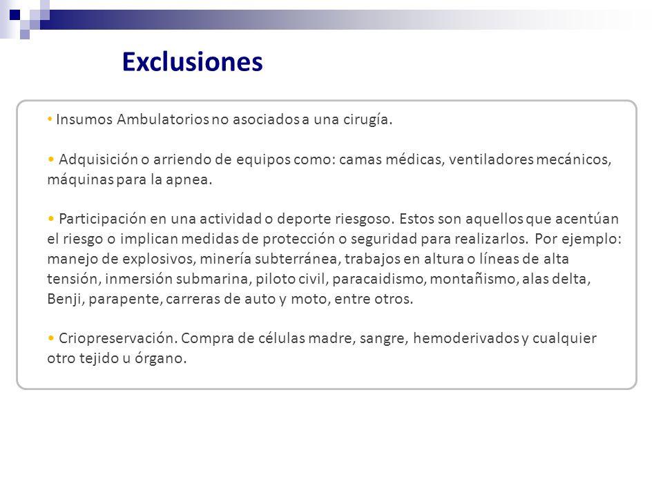 Exclusiones Insumos Ambulatorios no asociados a una cirugía.