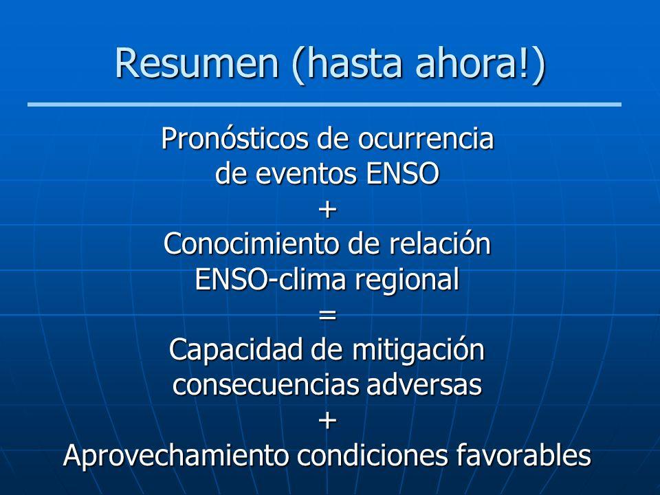 Resumen (hasta ahora!) Pronósticos de ocurrencia de eventos ENSO +