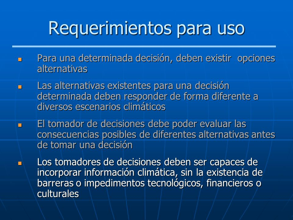 Requerimientos para uso