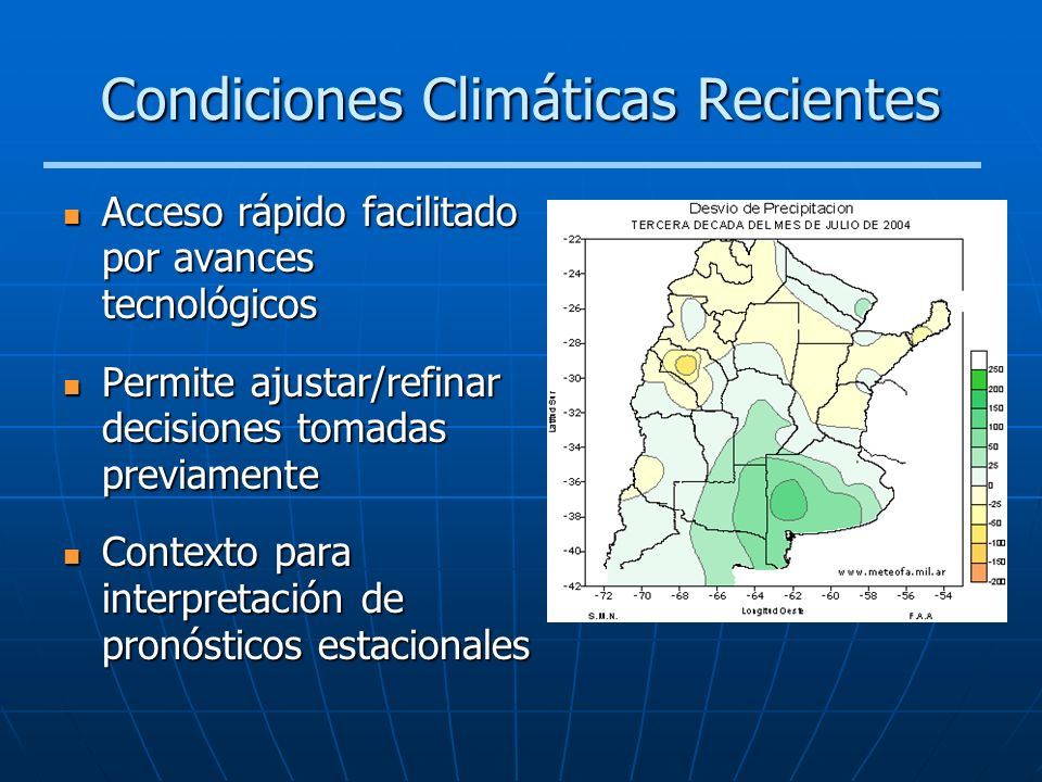 Condiciones Climáticas Recientes