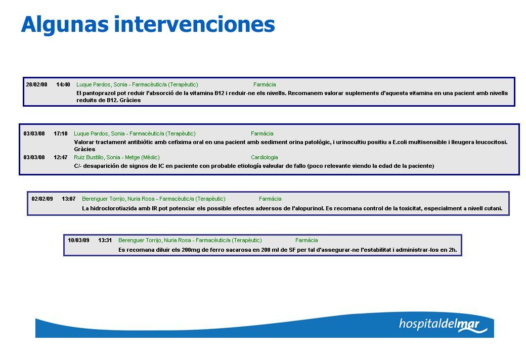 Algunas intervenciones