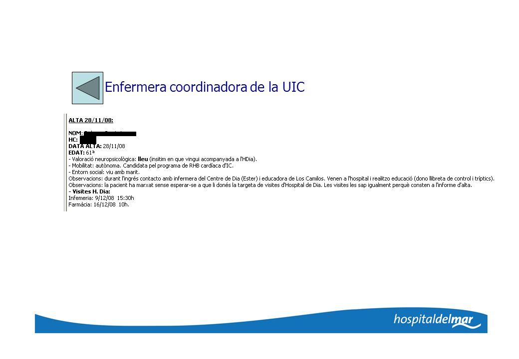 Enfermera coordinadora de la UIC