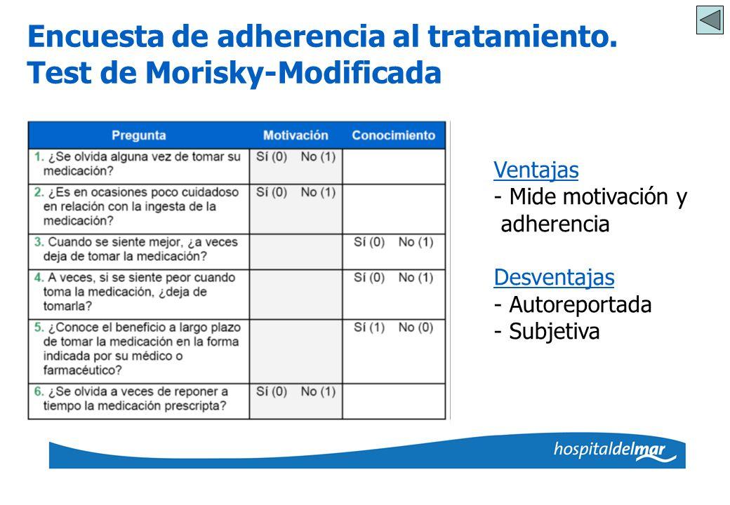 Encuesta de adherencia al tratamiento. Test de Morisky-Modificada