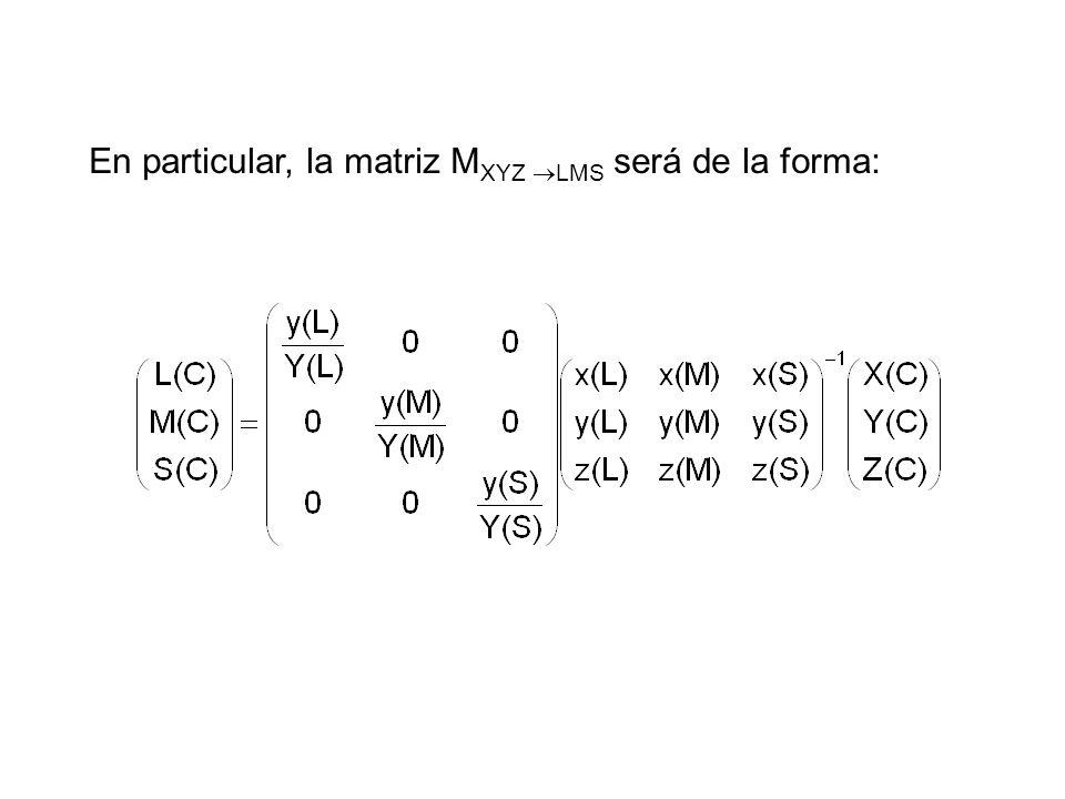 En particular, la matriz MXYZ LMS será de la forma: