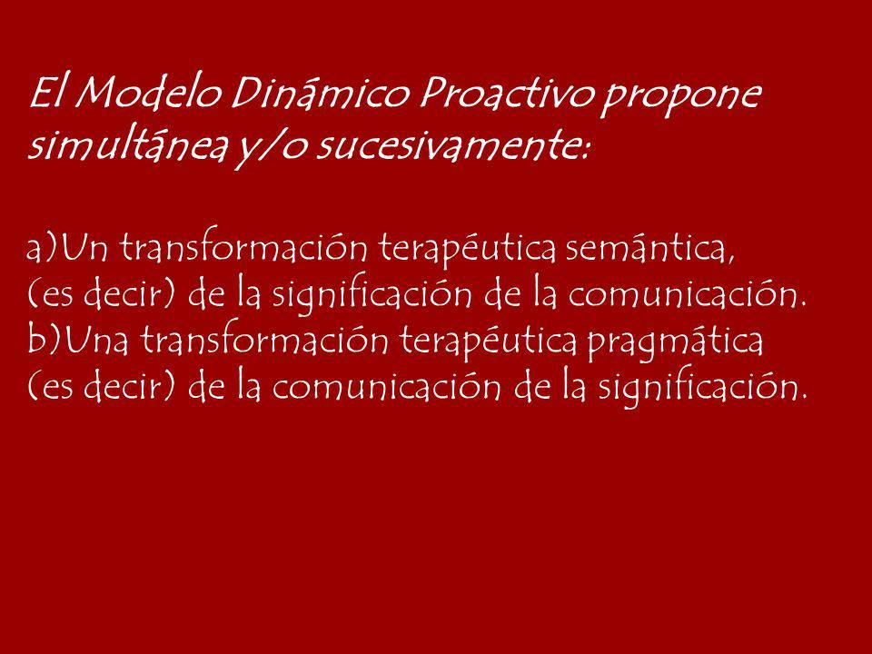 El Modelo Dinámico Proactivo propone simultánea y/o sucesivamente:
