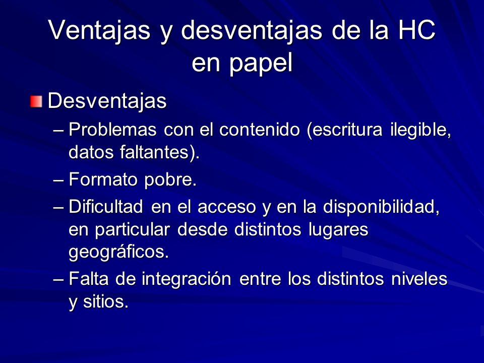 Ventajas y desventajas de la HC en papel
