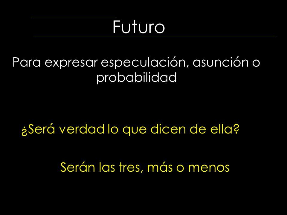 Futuro Para expresar especulación, asunción o probabilidad