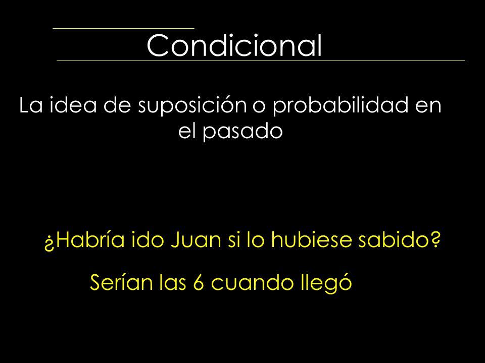 Condicional La idea de suposición o probabilidad en el pasado