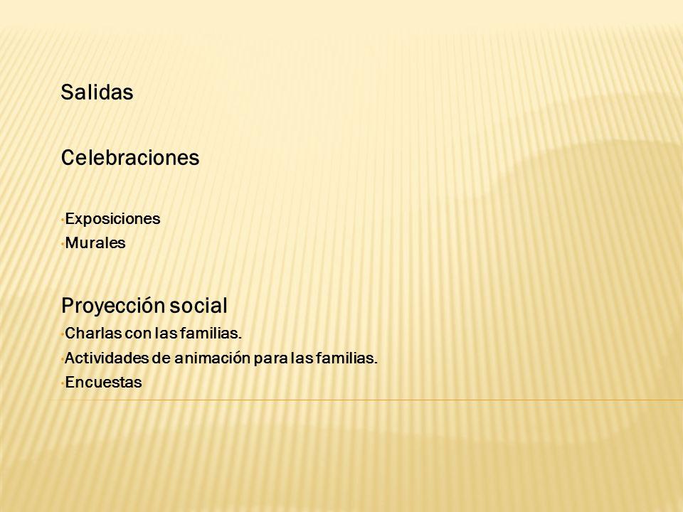 Salidas Celebraciones Proyección social Exposiciones Murales