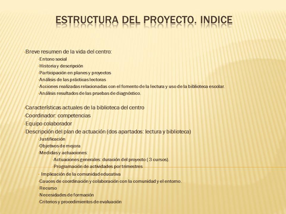 ESTRUCTURA DEL PROYECTO. INDICE