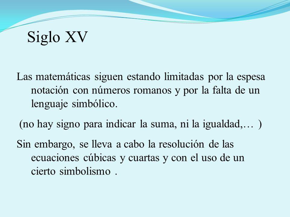 Siglo XV Las matemáticas siguen estando limitadas por la espesa notación con números romanos y por la falta de un lenguaje simbólico.