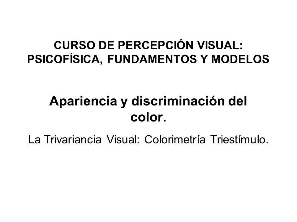 CURSO DE PERCEPCIÓN VISUAL: PSICOFÍSICA, FUNDAMENTOS Y MODELOS