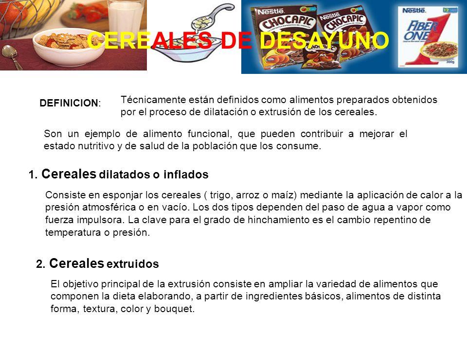 CEREALES DE DESAYUNO 1. Cereales dilatados o inflados