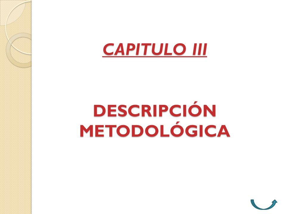 CAPITULO III DESCRIPCIÓN METODOLÓGICA