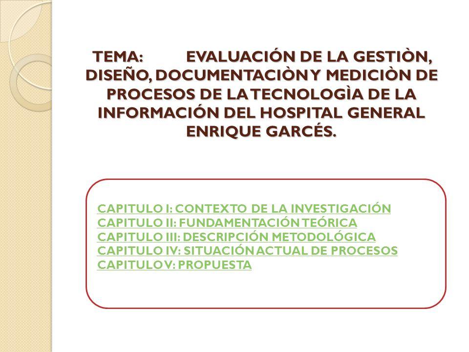 TEMA: EVALUACIÓN DE LA GESTIÒN, DISEÑO, DOCUMENTACIÒN Y MEDICIÒN DE PROCESOS DE LA TECNOLOGÌA DE LA INFORMACIÓN DEL HOSPITAL GENERAL ENRIQUE GARCÉS.