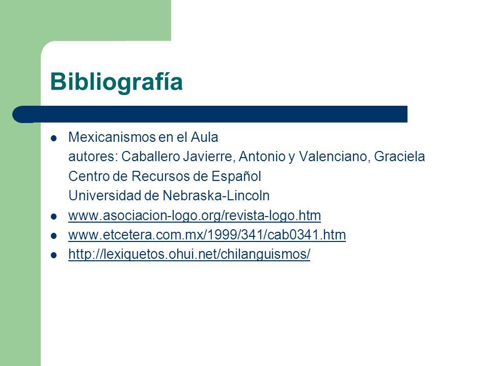 Bibliografía Mexicanismos en el Aula