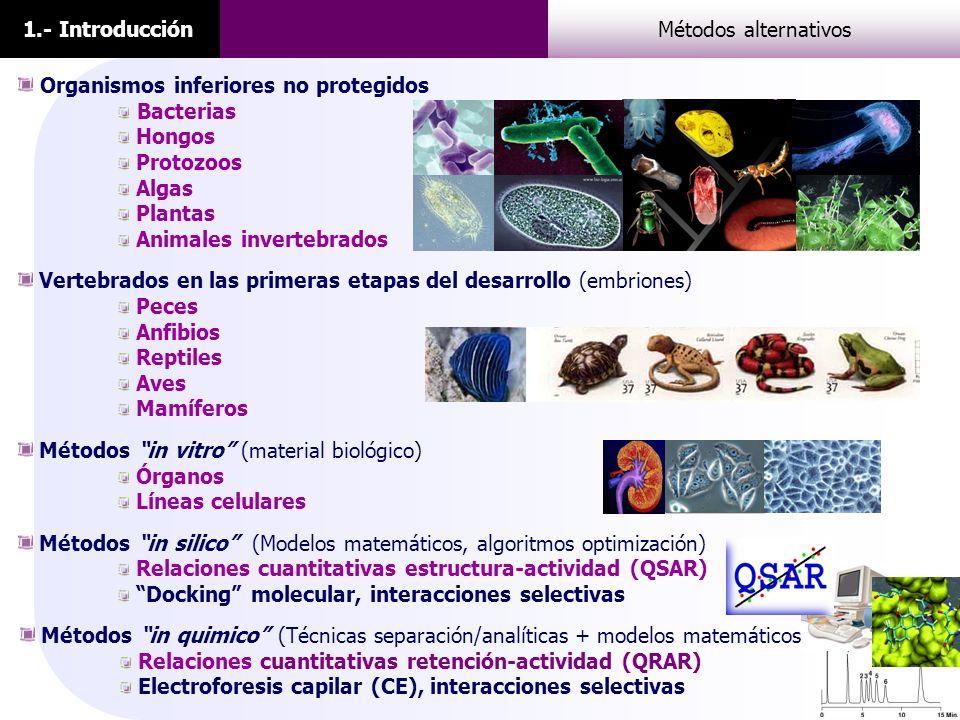 1.- Introducción Métodos alternativos. Organismos inferiores no protegidos. Bacterias. Hongos. Protozoos.