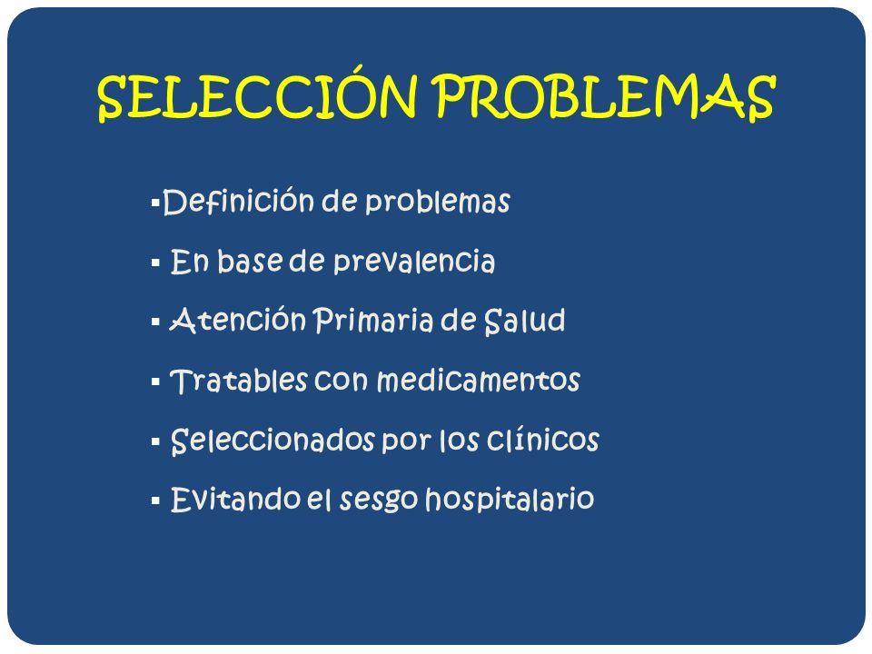 SELECCIÓN PROBLEMAS Definición de problemas En base de prevalencia