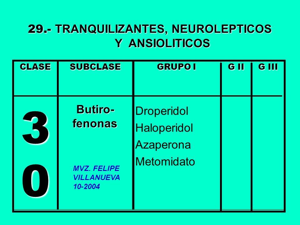 30 29.- TRANQUILIZANTES, NEUROLEPTICOS Y ANSIOLITICOS Droperidol