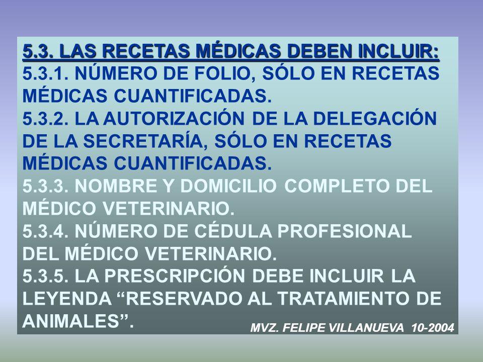 5.3. LAS RECETAS MÉDICAS DEBEN INCLUIR: