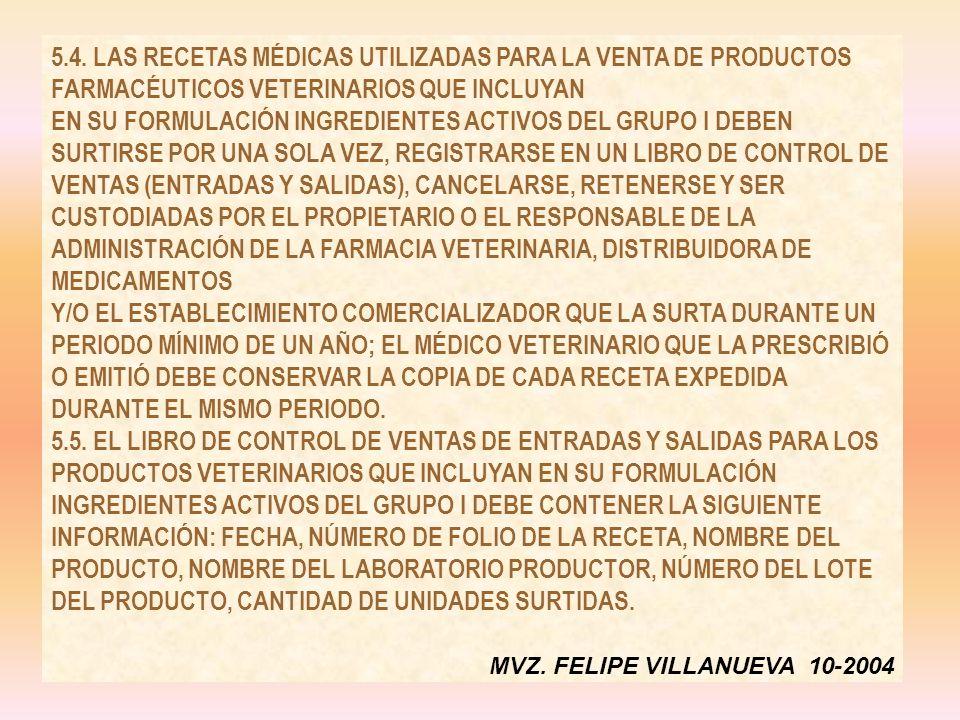 5.4. LAS RECETAS MÉDICAS UTILIZADAS PARA LA VENTA DE PRODUCTOS FARMACÉUTICOS VETERINARIOS QUE INCLUYAN EN SU FORMULACIÓN INGREDIENTES ACTIVOS DEL GRUPO I DEBEN SURTIRSE POR UNA SOLA VEZ, REGISTRARSE EN UN LIBRO DE CONTROL DE VENTAS (ENTRADAS Y SALIDAS), CANCELARSE, RETENERSE Y SER CUSTODIADAS POR EL PROPIETARIO O EL RESPONSABLE DE LA ADMINISTRACIÓN DE LA FARMACIA VETERINARIA, DISTRIBUIDORA DE MEDICAMENTOS Y/O EL ESTABLECIMIENTO COMERCIALIZADOR QUE LA SURTA DURANTE UN PERIODO MÍNIMO DE UN AÑO; EL MÉDICO VETERINARIO QUE LA PRESCRIBIÓ O EMITIÓ DEBE CONSERVAR LA COPIA DE CADA RECETA EXPEDIDA DURANTE EL MISMO PERIODO.