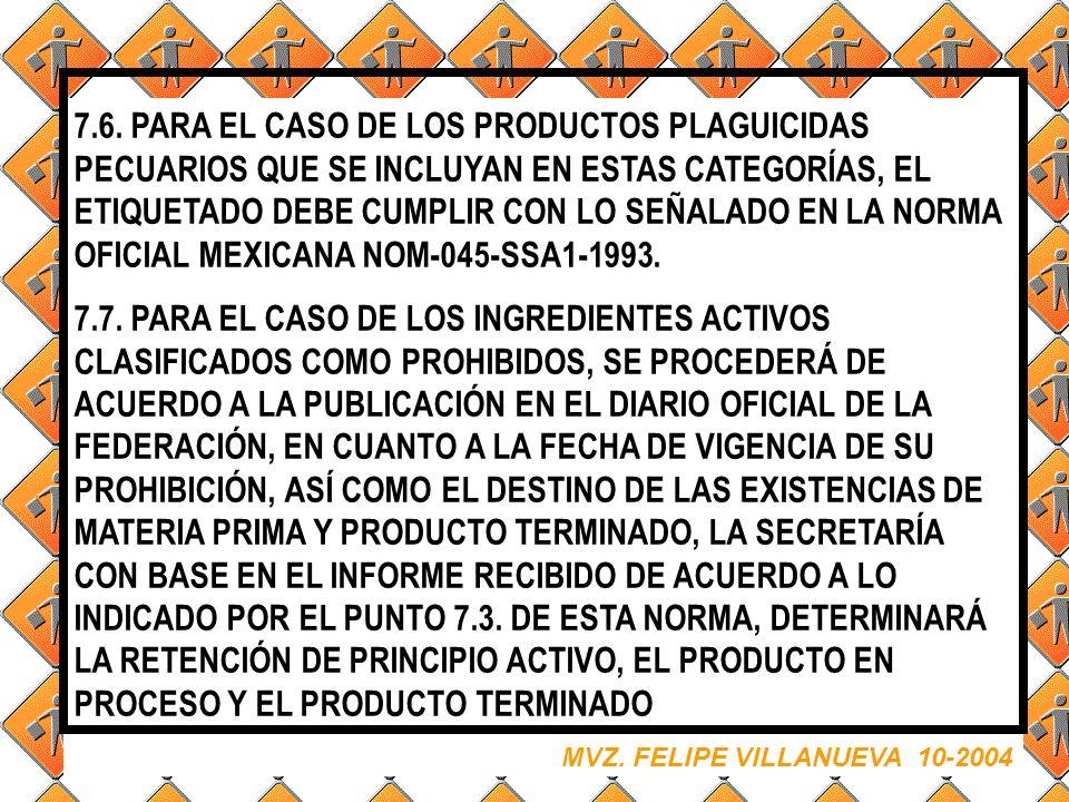 7.6. PARA EL CASO DE LOS PRODUCTOS PLAGUICIDAS PECUARIOS QUE SE INCLUYAN EN ESTAS CATEGORÍAS, EL ETIQUETADO DEBE CUMPLIR CON LO SEÑALADO EN LA NORMA OFICIAL MEXICANA NOM-045-SSA1-1993.