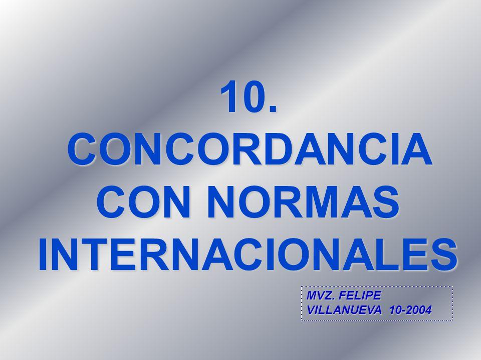 10. CONCORDANCIA CON NORMAS INTERNACIONALES