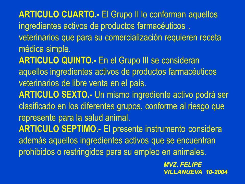 ARTICULO CUARTO.- El Grupo II lo conforman aquellos ingredientes activos de productos farmacéuticos . veterinarios que para su comercialización requieren receta médica simple.