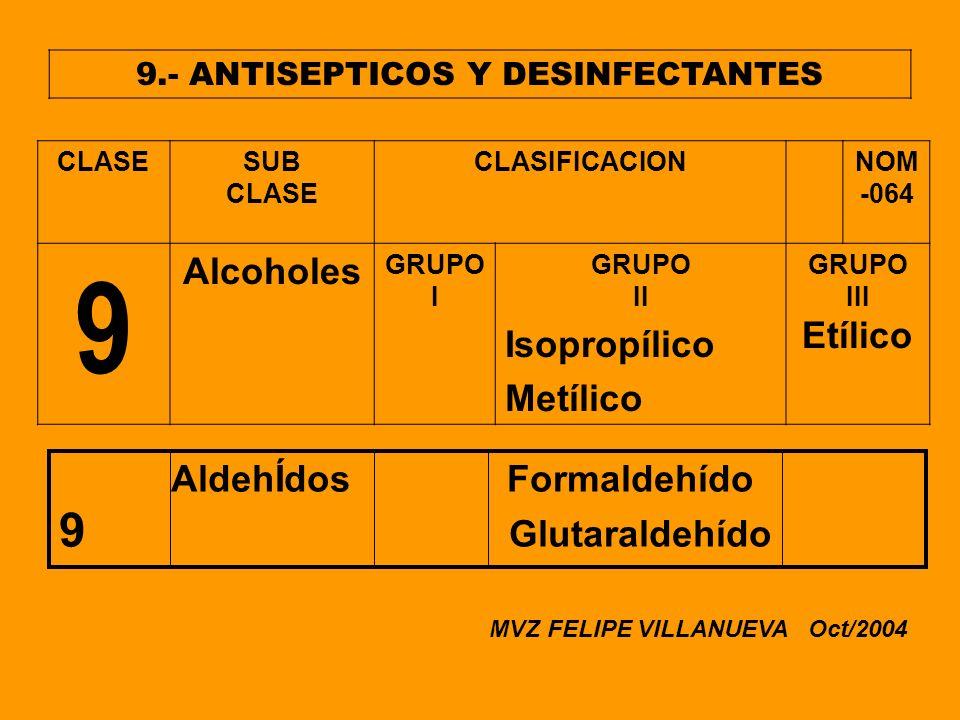 9.- ANTISEPTICOS Y DESINFECTANTES