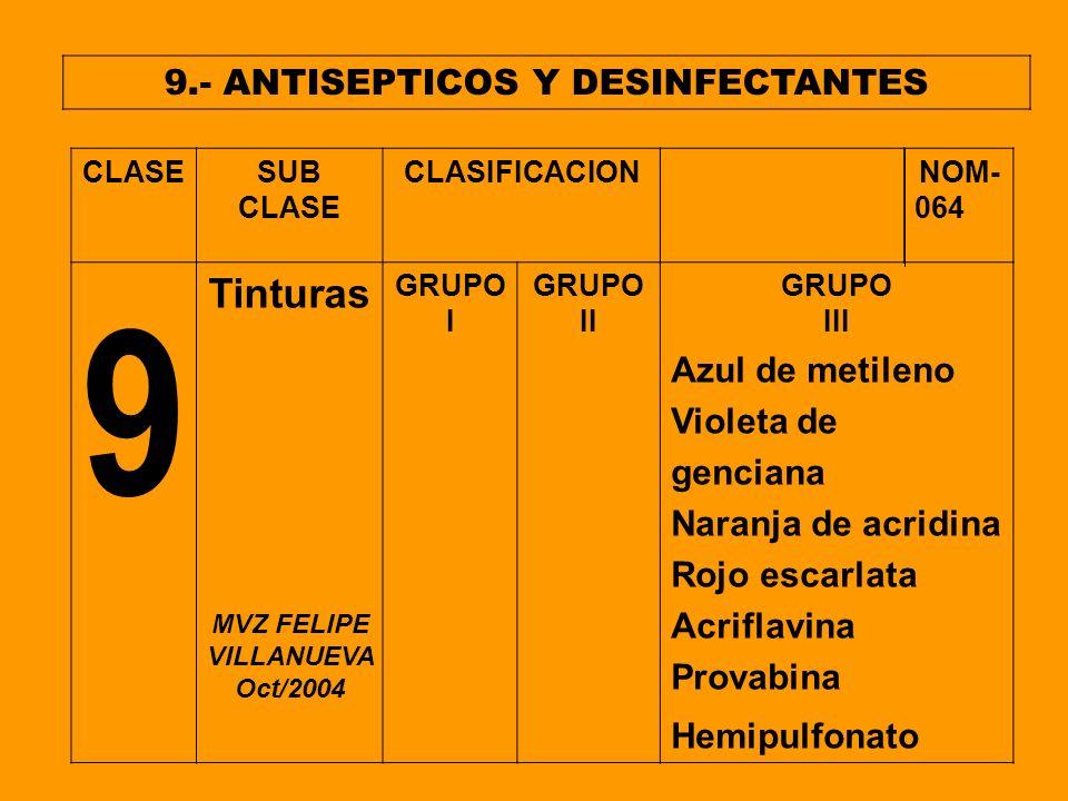 9.- ANTISEPTICOS Y DESINFECTANTES MVZ FELIPE VILLANUEVA Oct/2004