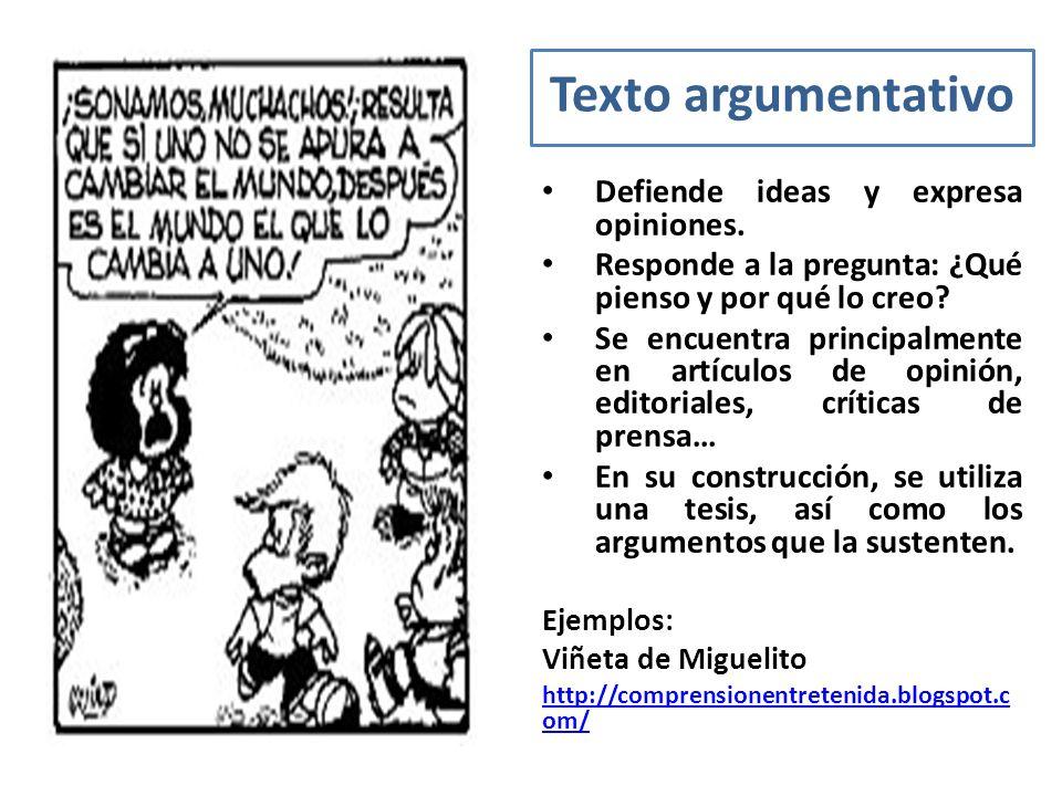 Texto argumentativo Defiende ideas y expresa opiniones.