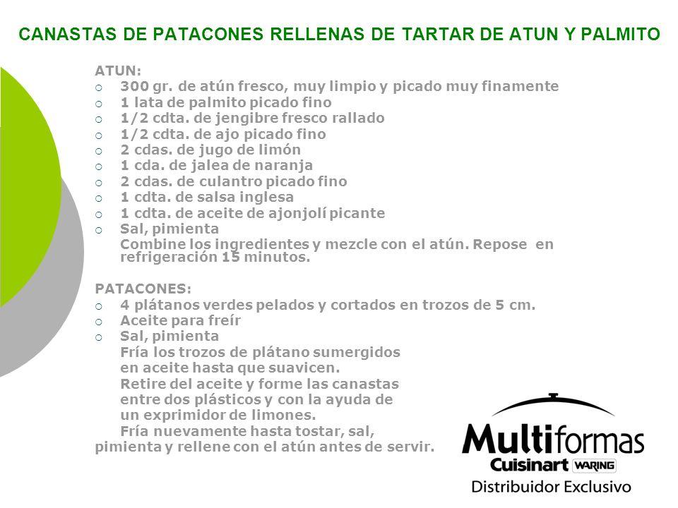CANASTAS DE PATACONES RELLENAS DE TARTAR DE ATUN Y PALMITO