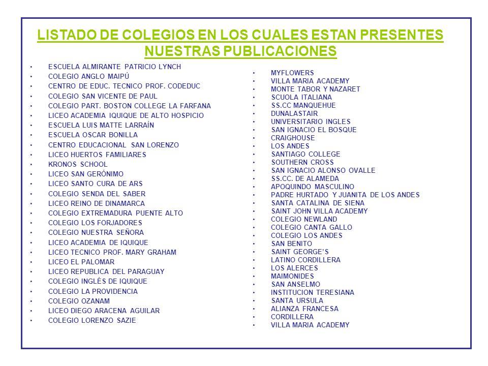 LISTADO DE COLEGIOS EN LOS CUALES ESTAN PRESENTES NUESTRAS PUBLICACIONES
