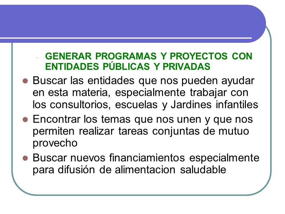 GENERAR PROGRAMAS Y PROYECTOS CON ENTIDADES PÚBLICAS Y PRIVADAS