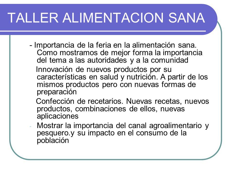 TALLER ALIMENTACION SANA