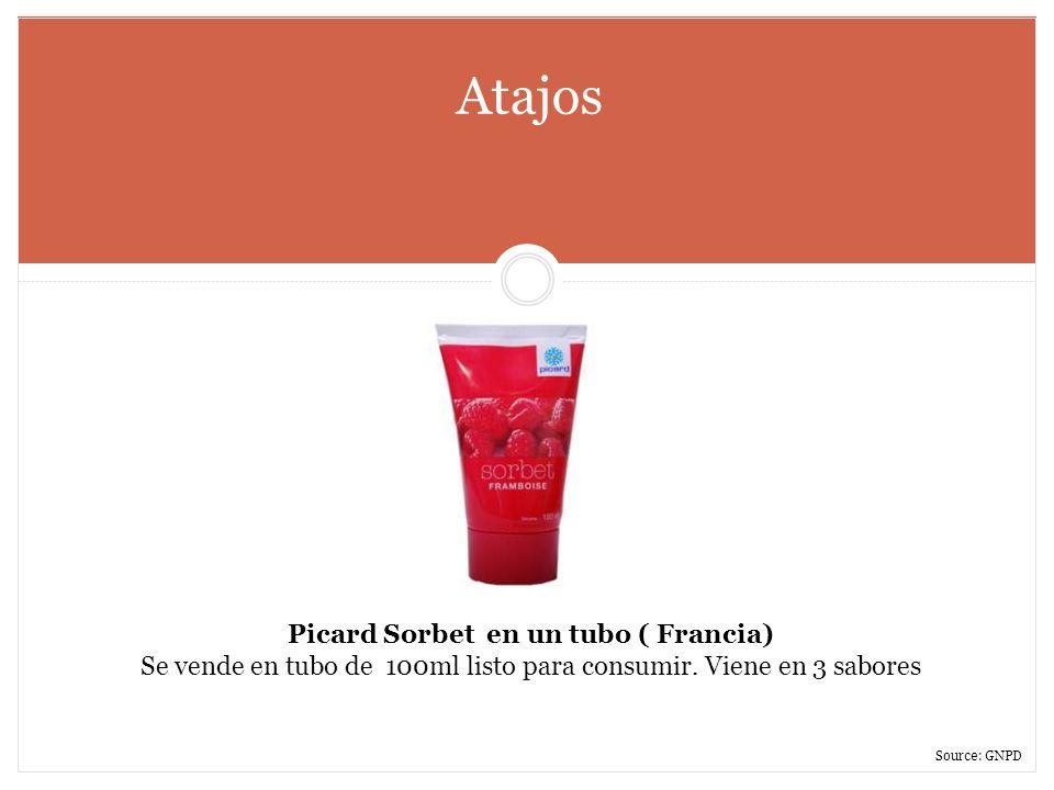 Atajos Picard Sorbet en un tubo ( Francia) Se vende en tubo de 100ml listo para consumir. Viene en 3 sabores