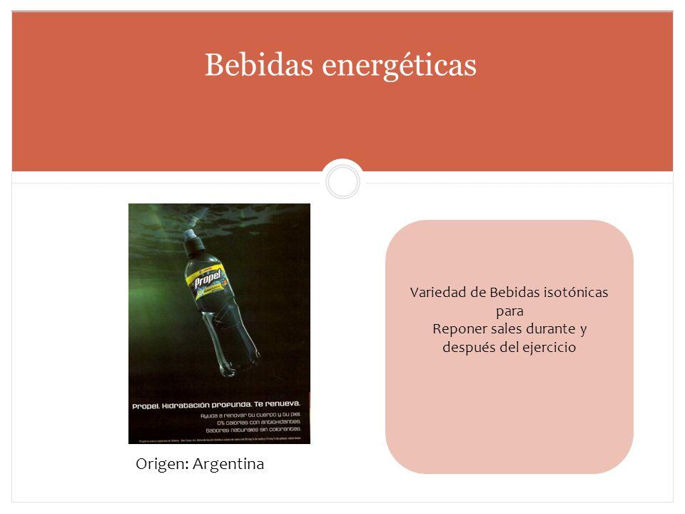 Bebidas energéticas Origen: Argentina