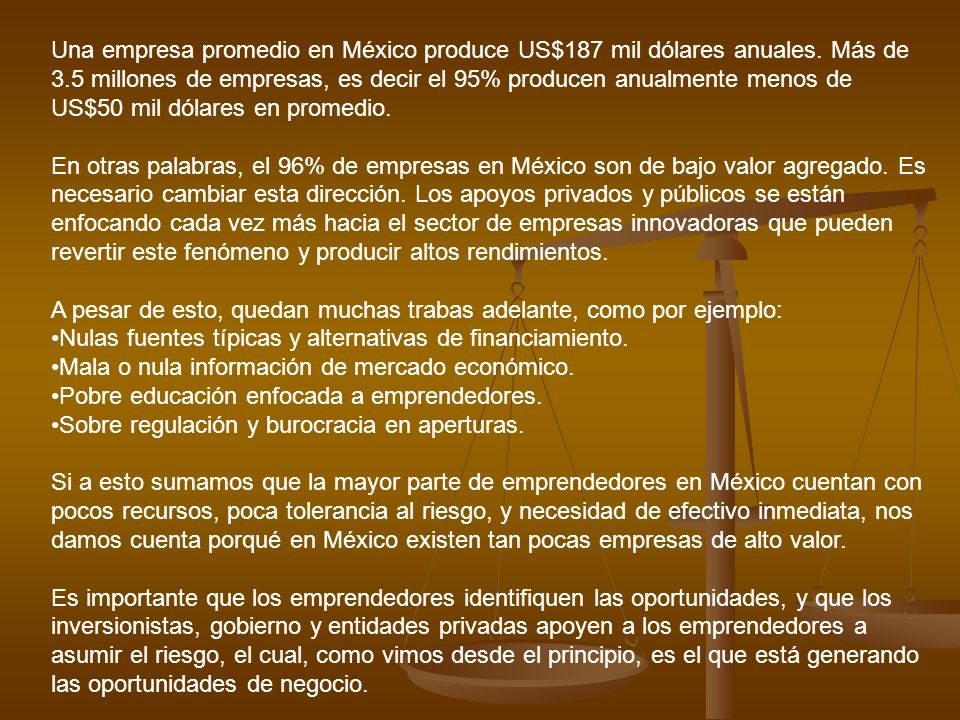 Una empresa promedio en México produce US$187 mil dólares anuales