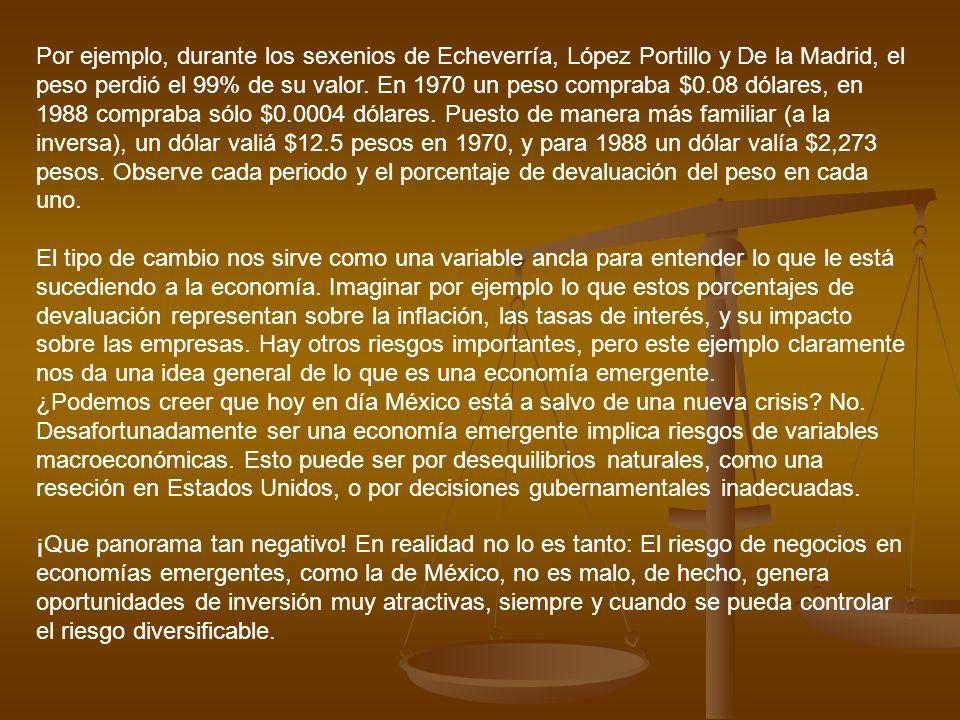 Por ejemplo, durante los sexenios de Echeverría, López Portillo y De la Madrid, el peso perdió el 99% de su valor. En 1970 un peso compraba $0.08 dólares, en 1988 compraba sólo $0.0004 dólares. Puesto de manera más familiar (a la inversa), un dólar valiá $12.5 pesos en 1970, y para 1988 un dólar valía $2,273 pesos. Observe cada periodo y el porcentaje de devaluación del peso en cada uno.