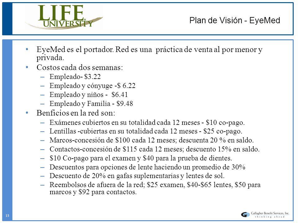 Plan de Visión - EyeMed EyeMed es el portador. Red es una práctica de venta al por menor y privada.