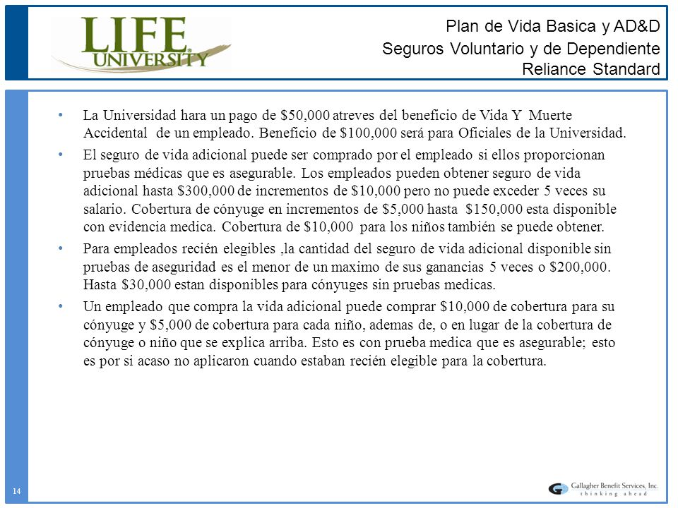 Plan de Vida Basica y AD&D Seguros Voluntario y de Dependiente Reliance Standard